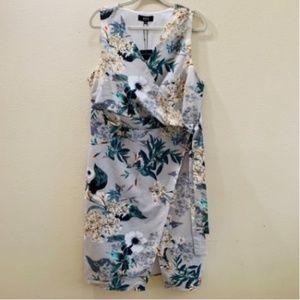 Wrap Dress Floral Print V Neck Surplice ABS Plus